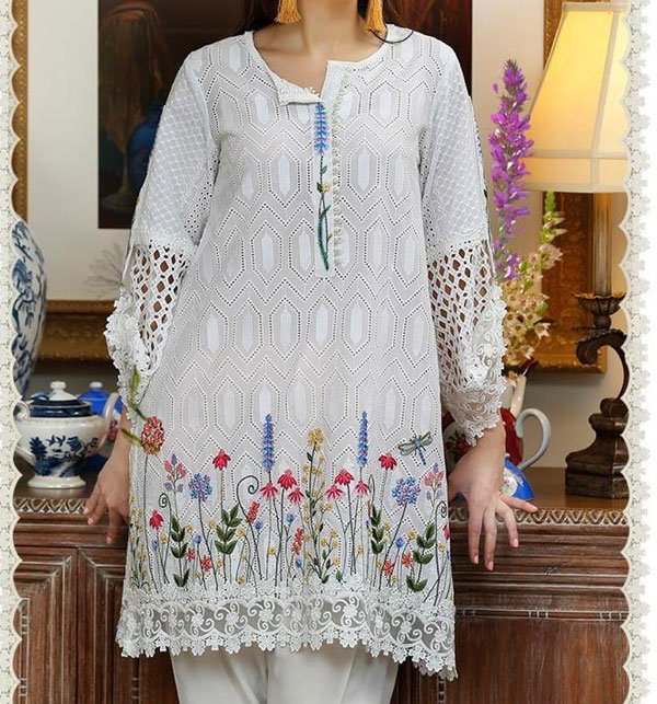 2 PCS Chikankari Embroidered Suit (Unstitched) Silvafashion.com - Online Shopping in Pakistan