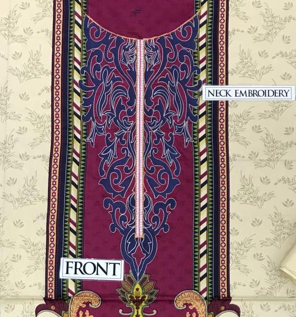 Embroidered Lawn Suit with Chiffon Dupatta Silvafashion.com - Online Shopping in Pakistan