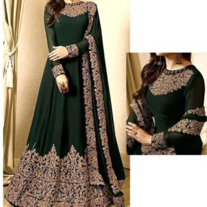 Indian Embroidered Green Chiffon Maxi Dress