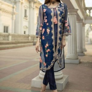 Full Embroidery Net Kurti With Inner (Unstitched)