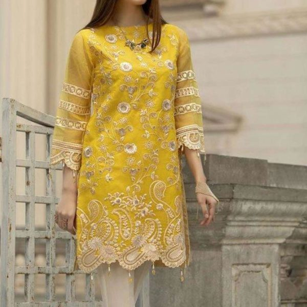 Full Embroidered Chiffon Kurti With Inner (Unstitched) Silvafashion.com - Online Shopping in Pakistan