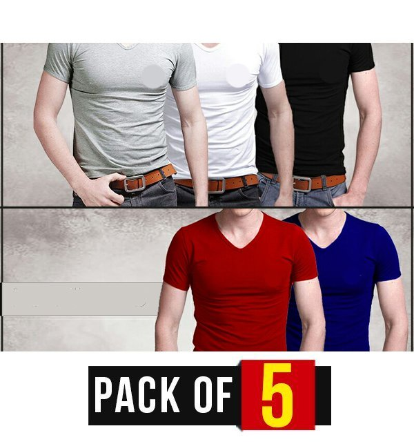 PACK OF 5 -V- NECK T-SHIRTS Silvafashion.com - Online Shopping in Pakistan