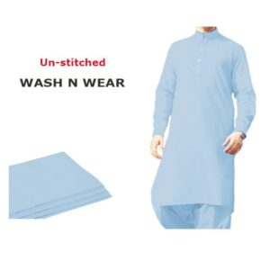 Wash & Wear Sky Blue Men's Kameez Shalwar (Unstitched)
